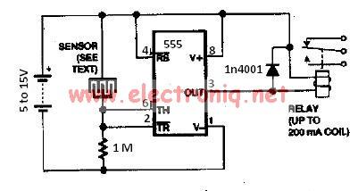 Water sensor rain alarm using 555 timer circuit