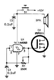 Simple electronic horn circuit diagram