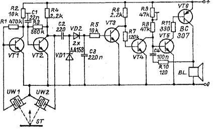 Ultrasonic parking system using transistors
