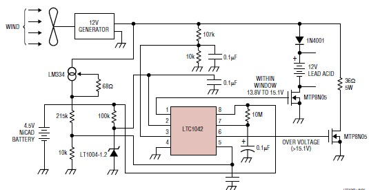 Wind charger circuit using LTC1042