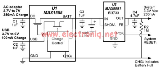 USB charger circuit based on MAX1555