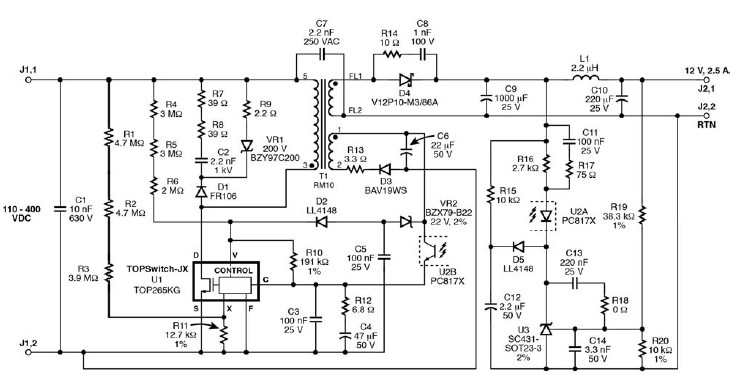 TOP265KG 12 V switching power supply circuit diagram