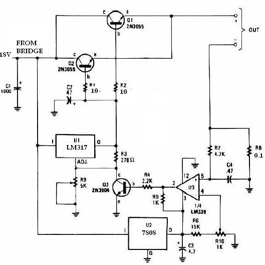 Universal battery charger using LM317 and 2n3055