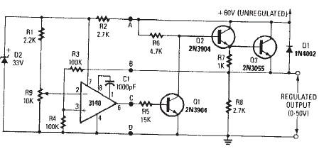 0-50 volts voltage regulator