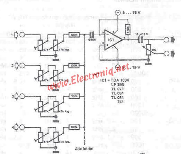 Audio mixer circuit diagram project using operational