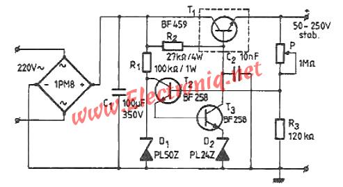 50-250 volts high voltage adjustable regulator circuit