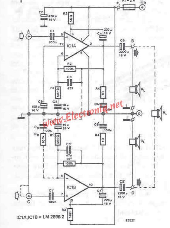 LM2896 audio amplifier circuit diagram project