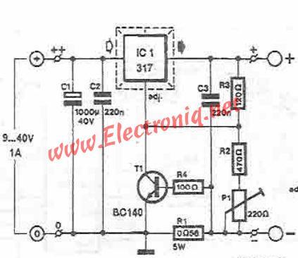 Lead acid batteries charger using LM317 voltage regulator