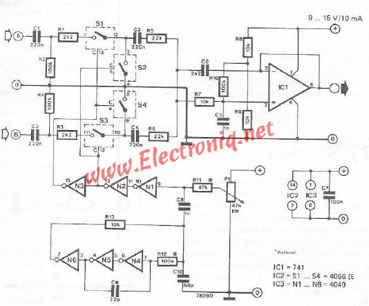 Two-channel mixing desk circuit diagram