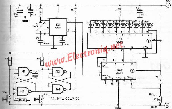 Reaction tester electronic project circuit schematic