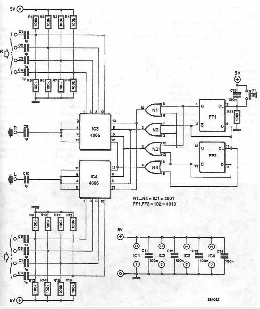 4 channel stereo audio signal switch circuit diagram using