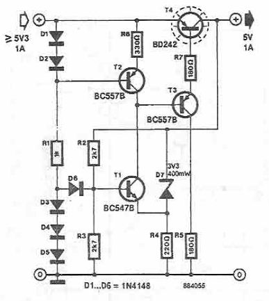 5V voltage regulator circuit using BD242