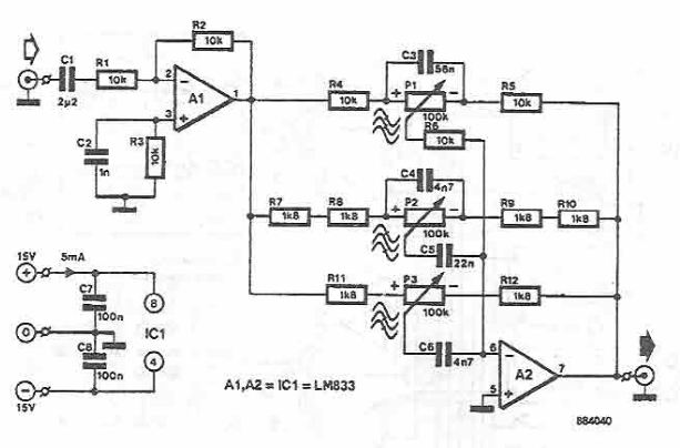 lm833 tone control circuit electronic project