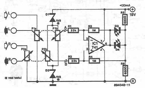 Stereo Balance indicator with control function circuit diagram