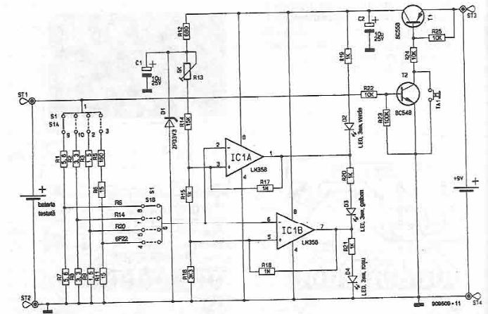 Battery state tester circuit
