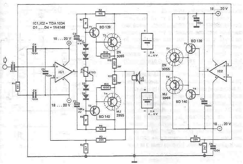 Class A amplifier using TDA1034