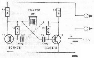 Continuity tester circuit with buzzer