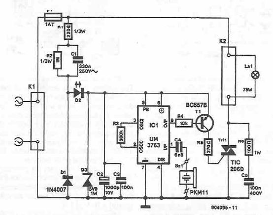 Light by whistle electronic project circuit diagram