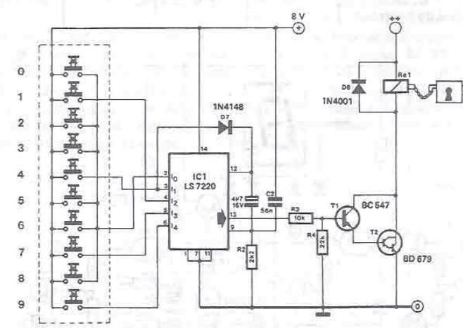 Electronic lock circuit using LS7220 integrated circuit