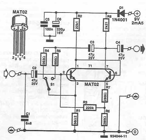 Microphone amplifier circuit using MAT02