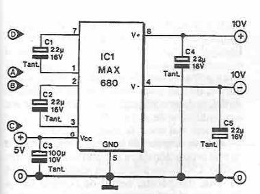 MAX680 symmetrical voltage doubler circuit diagram