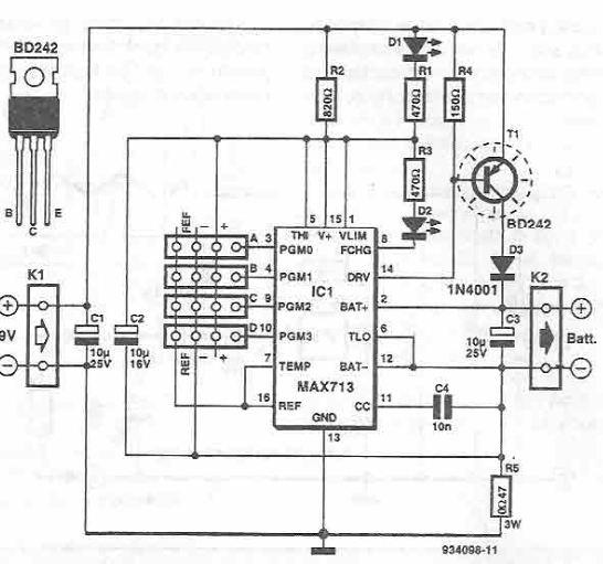 MAX712, MAX713 rapid charger circuit diagram