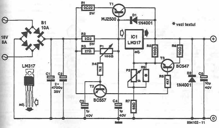 Control of DC motor using an LM317 regulator