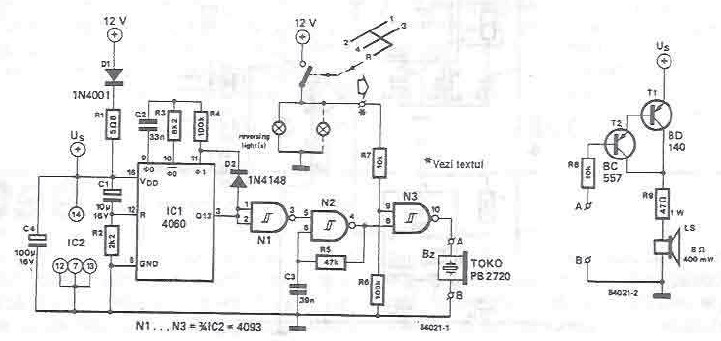 Piezo warning buzzer electronic project