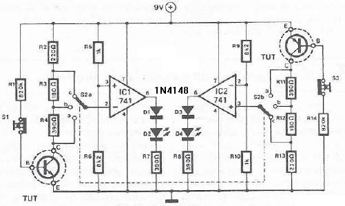 Gain transistor tester circuit diagram project