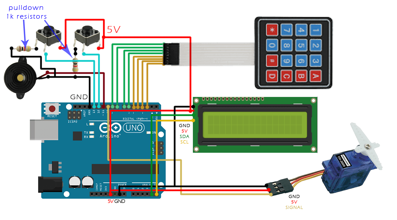 hight resolution of another push button connected to pin d13 will close the door from inside of the room let s take a look at the schematic first