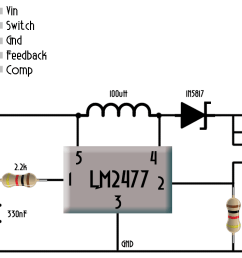 the input could up to 12 volts don t apply higher voltage or you could burn lm2577 adj component in this case we need no external switch since the  [ 1920 x 757 Pixel ]
