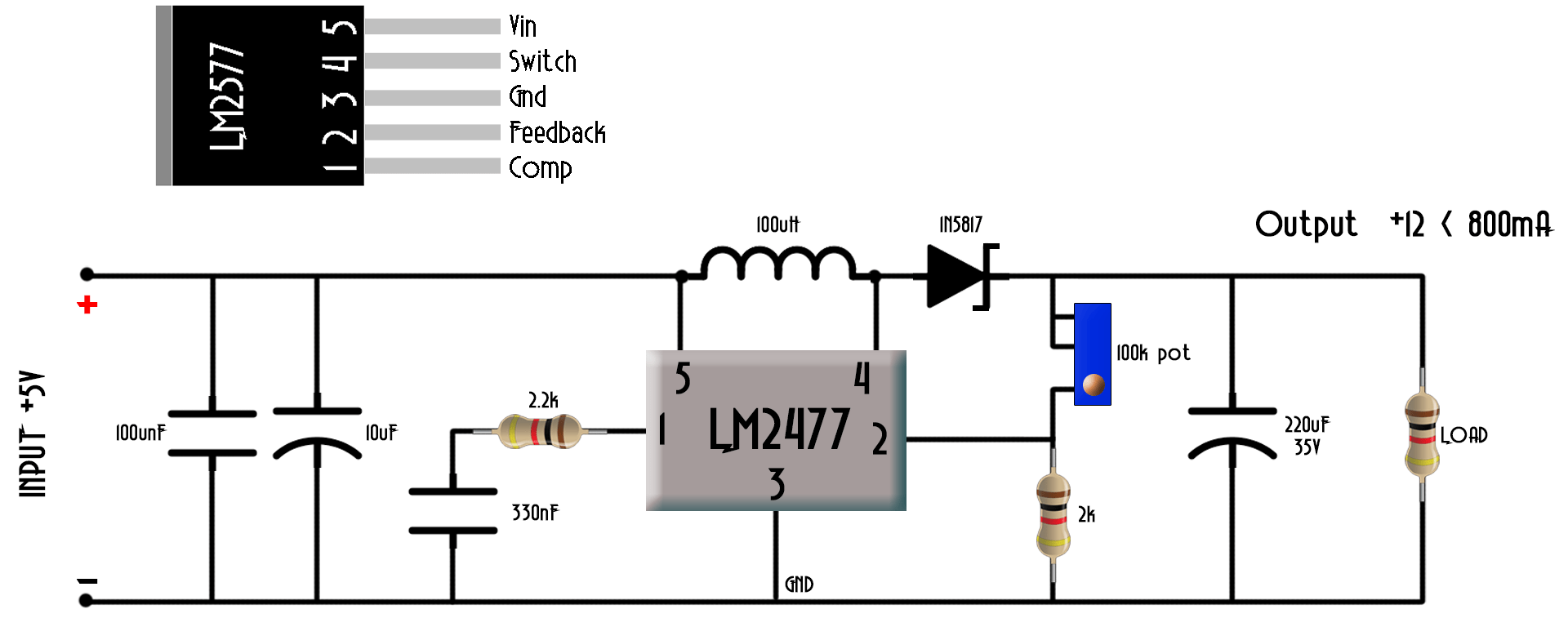 hight resolution of the input could up to 12 volts don t apply higher voltage or you could burn lm2577 adj component in this case we need no external switch since the