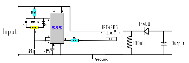 circuit diagram of buck boost converter audi a6 c6 headlight wiring dc to homemade don t apply higher voltage or you could burn the 555 timer connect pwm pin 3 mosfet switch