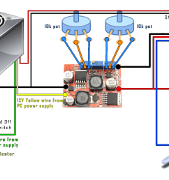 diy power supply pc boost buck converter display schematic diagram indicating the power supply voltmeter ammeter and [ 1920 x 1080 Pixel ]