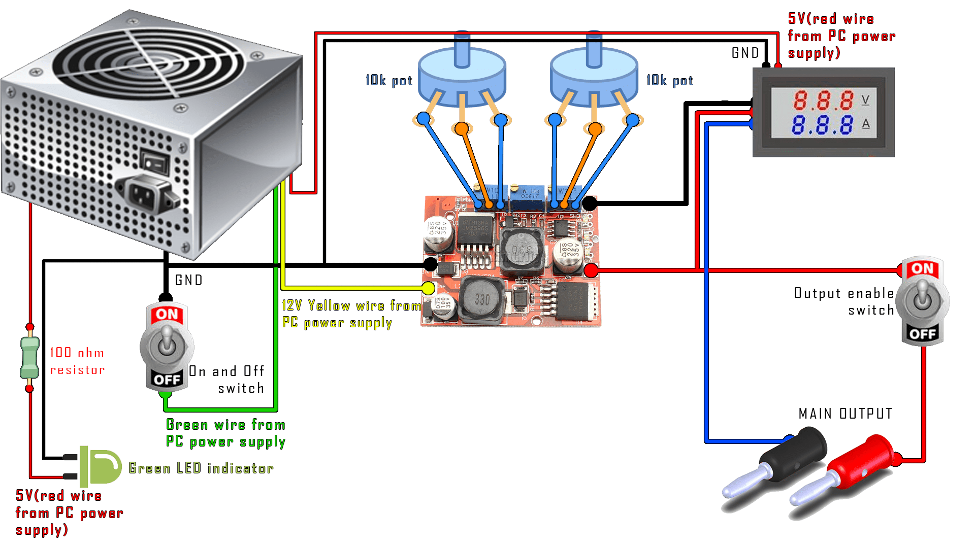 hight resolution of diy power supply pc boost buck converter display schematic diagram indicating the power supply voltmeter ammeter and