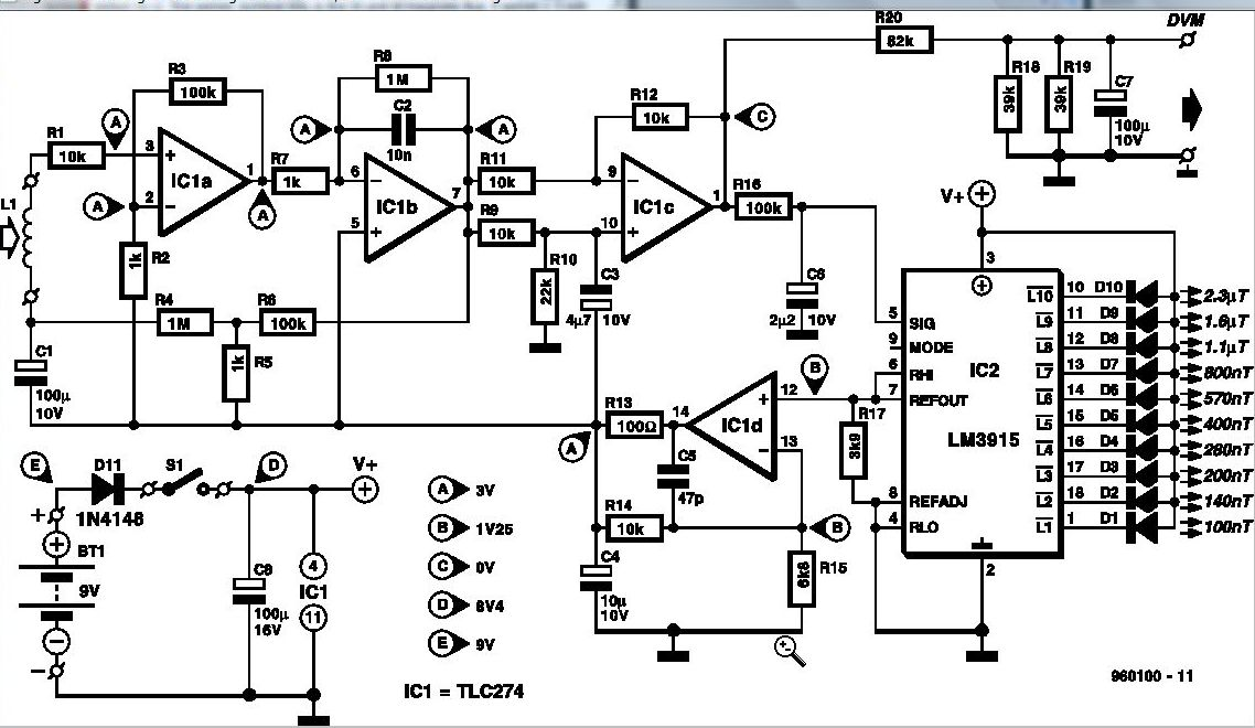 electromagnetic field detector circuit diagram