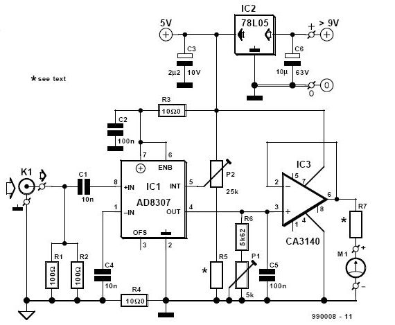ad8307 rf decibel power meter circuit