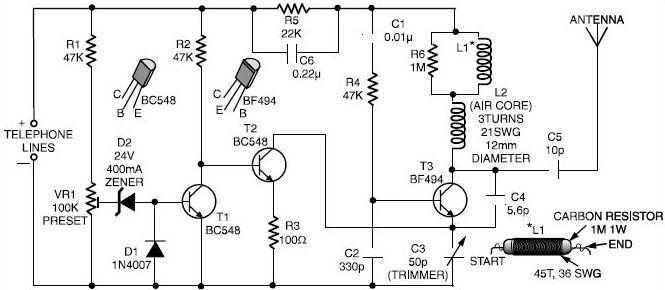 Spy Phone Bug Transmitter Circuit