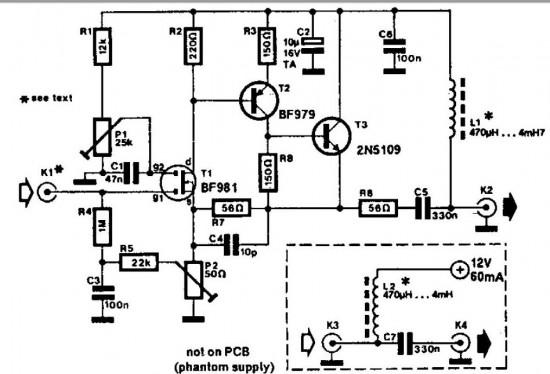 wideand active antenna circuit schematic