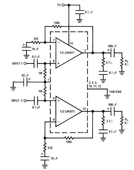 LM1877 Audio Amplifier Circuit