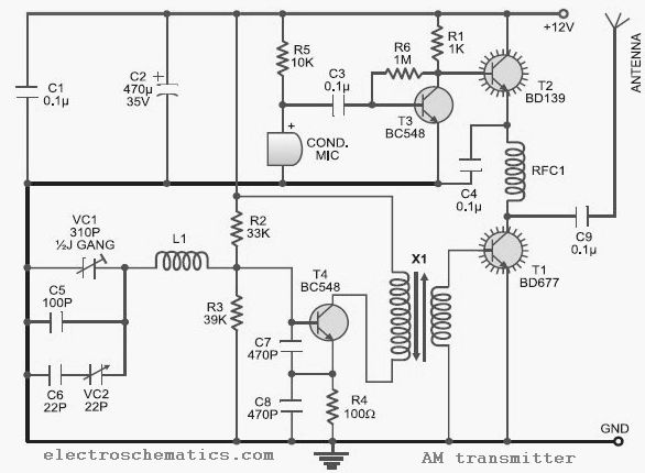 10 to 15 MHz AM Transmitter Circuit