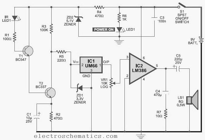 infrared detector circuit with pid20 received by email infrared