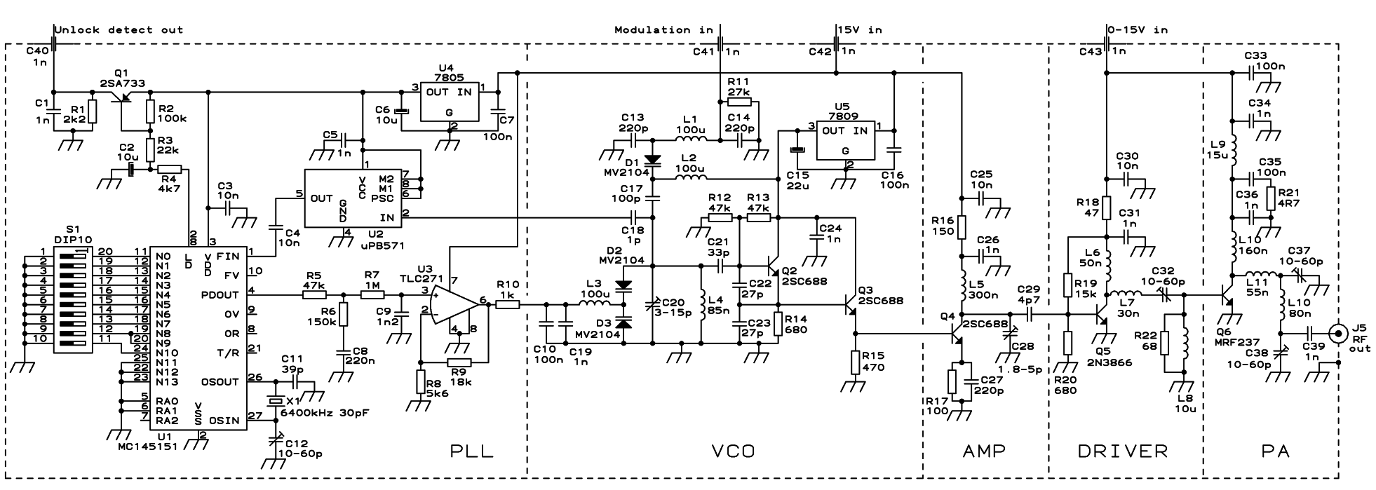 hight resolution of pll fm transmitter circuit schematic