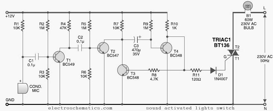 Sound Activated Lights Circuit