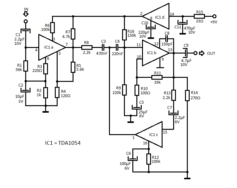 Audio Compressor Circuit with TDA1054