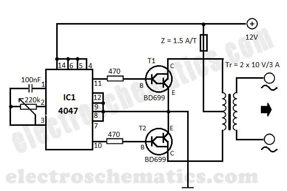 240v to 12v transformer wiring diagram direct tv connection dc ac converter 220v voltage diy built with cmos 4047