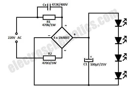 Hobby Electronics Circuits: AC Powered 220V Led Circuit
