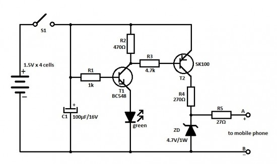 travel mobile phone charger circuit