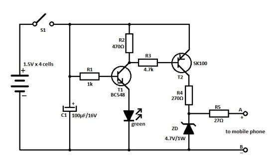 travel mobile phone charger circuit schematic