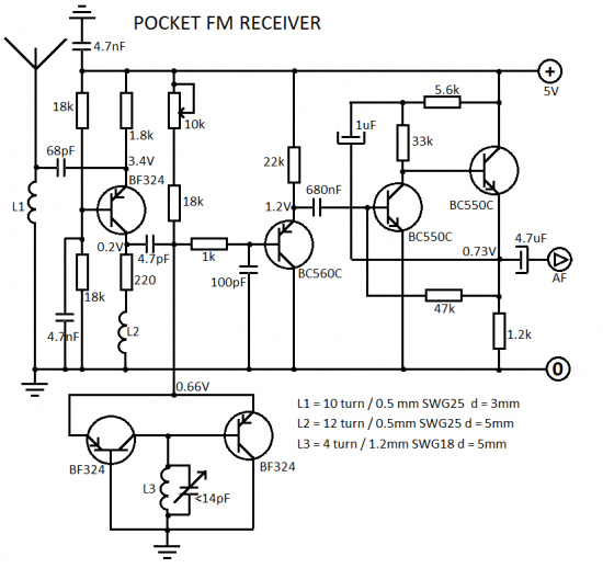 fm radio receiver using tda7000 circuit diagram
